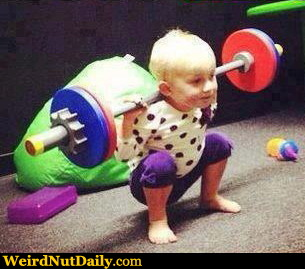 Funny Pictures @ WeirdNutDaily - Baby Weigh Lifter