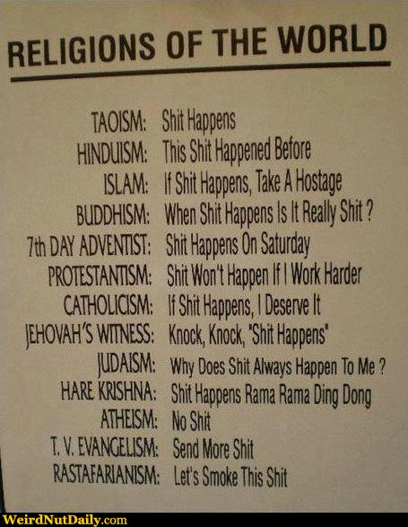 Funny Pictures WeirdNutDaily Religions Of The World And Sht - List of different religions in the world