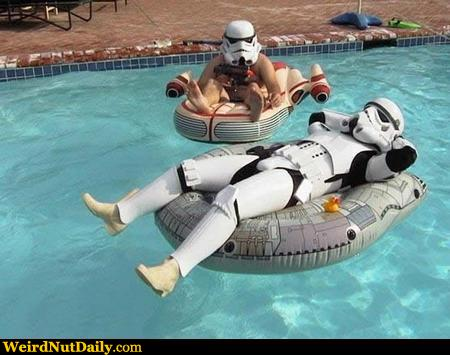 Funny pictures weirdnutdaily storm trooper pool party for Pool party daily show