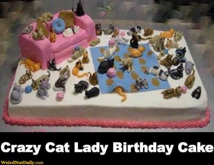 Cat with tons of tiny cats on it: Crazy Cat Lady Birthday Cake.